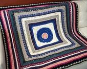 Crocheted Granny Square Blanket. Wool. Afghan.