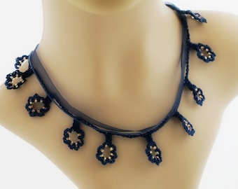 Crocheted Beaded Flower Necklace. Blue. Gold.