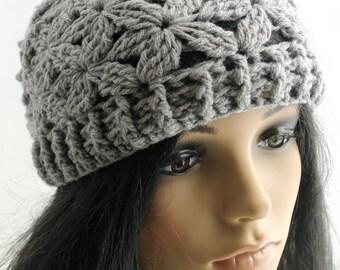Crocheted Jasmine Flower Beanie. Teen. Hat.