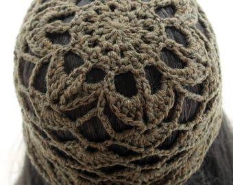 Crocheted Flower Mesh Hat. Adult. Beanie. Merino Wool. Olive.