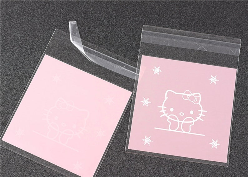 Heart. Self Adhesive Gift Bags Cookie Hello Kitty Bear Plastic Cat Candy Pink