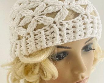 Crocheted Jasmine Flower Beanie. Adult. Hat. White. Snow.