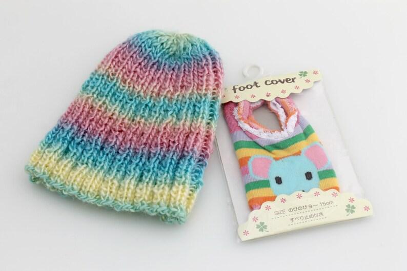 Toddler Beanie And Socks Crochet. Rainbow