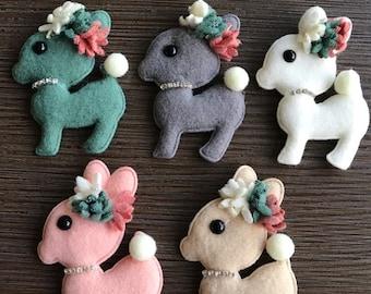 Assorted Colors Deer Appliques. Plush. Fabric. Embellishments. Rhinestones. Flowers. Felt. Gray. White. Pink. Green. Beige.