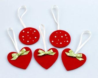 Valentine's Red Felt Ornaments. Hearts. Circles. Pearl Beads. Polka Dot Bows.
