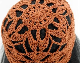 Crocheted Adult Flower Beanie. Hat. Cotton. Brown. Bronze. Womens. Mesh.