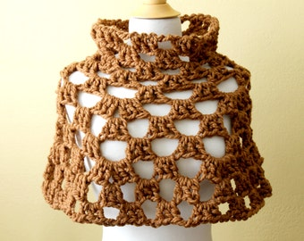 Crocheted Chunky Brown Capelet. Poncho. Cowl.