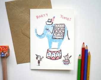 Circus Party time! - hand printed birthday, New baby Card