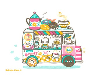 Coffee and Donuts Van - A3 Original limited edition silk screen print
