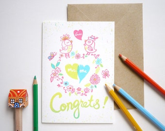 Mr. and Mrs love birds - hand printed Just married, wedding congratulations Card
