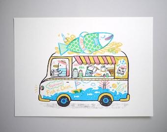 Fish N' Chips Van - A3 Original limited edition silk screen print