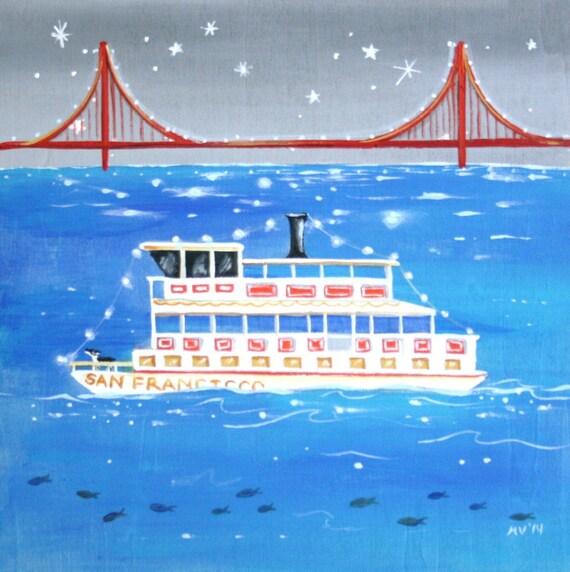 San Francisco Ferry Print Ride The Midnight Ferry 7x7 Hawk Art San Francisco Ferry Print Ferry Boat Housewares Room Decor