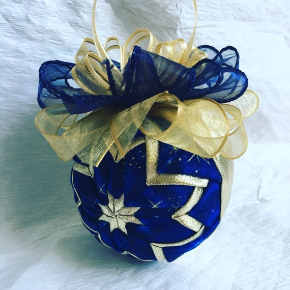 Sapphire Blue Star Ornament - Quilted Christmas Ornament - Hostess Gift