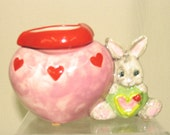 Mini Flower Pot Ceramic African Violet Planter, Succulent Planter, Two Piece Self Watering Bunny Pink Heart on Etsy