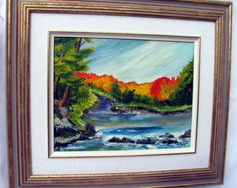 Nova Scotia Autumn Landscape, Original Oil Painting, Rushing River Scene, Fall Colors, Framed Ready to Hang on Etsy
