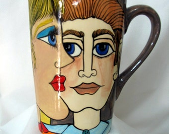 Ceramic Milk Pitcher/Carafe Hand painted  Impressionistic Style Lovers Faces  on Etsy