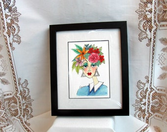 """Watercolor/Pen & Ink Giclee Print """"Summer"""" Matted Archival Whimsical Impressionistic Style Lady's Face and Summer Flowers on Etsy"""