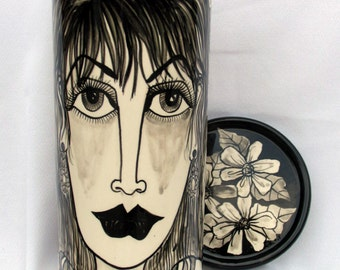 Wine Cooler & Lid/Coaster Impressionistic Style Black and White Fashionable Contemporary Ladies Faces on Etsy