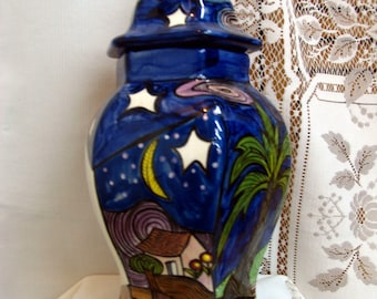 Ginger Jar/Canister Abstract  Night Sky/Sunrise scene Hand Painted Food Safe and Functional Ceramic Two Pieces on Etsy