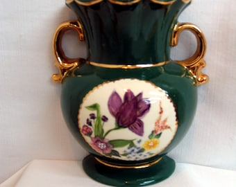 Indoor Ceramic Hanging Wall Planter/Vase Hunter Green with  Bouquet of Hand Painted Flowers Accented with Premium Gold on Handles on Etsy