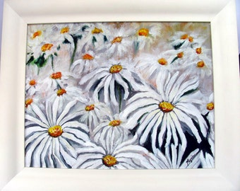 Impressionistic Daisies Original Acrylic Professionally Framed Ready to Hang Floral Art Painting on Etsy