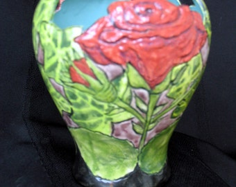 Vase/Candle Holder/Planter, Textured Red Rose & Ivy Etched and Hand Painted Motif on Etsy