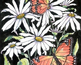 Watercolor Art Print on Plaque Daisies and Monarchs Ready to Hang on ETSY
