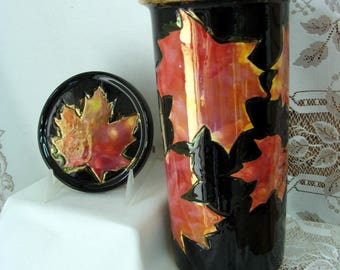 Wine Cooler & Lid/Coaster Embossed and Etched Canadian Maple Leaves with Gold Wash on Ceramic Wine Holder on Etsy