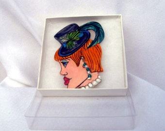 Handcrafted Ceramic Face BROOCH Pin Denim Blue Fascinator Hat/Teal and Green Feathers Crystal Earring on Etsy