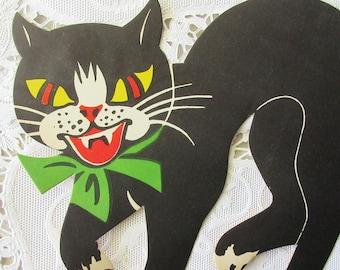 Vintage Denmark 1940s Fastelavn Shrovetide Black Cat Paper Ephemera Large