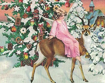 5 Germany Postcards Angel Reindeer Sunset Christmas Five Matching German Cards  PK921