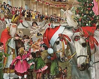 Large Advent Calendar Germany Glittered Christmas Vienna Lipazzner Stallions Horses ADV007 SR