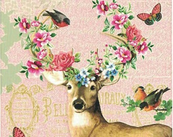 5 Germany Postcards Deer And Flowers Five Matching German Cards  PK769