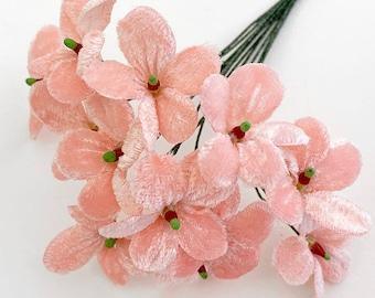 12 Velvet Forget Me Nots Millinery Fabric Flowers Czech Republic NFC038LTP