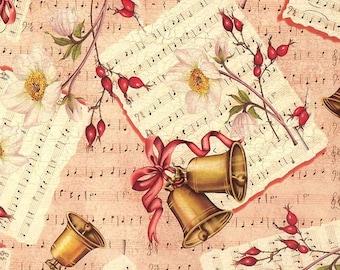 2 sheets bells music holiday print italian christmas paper tassotti italy ipt501 x2 - Italian Christmas Music