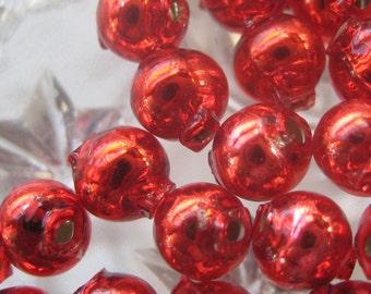 30 Czech Republic Glass Garland Beads Christmas Garland Beads 6mm Red
