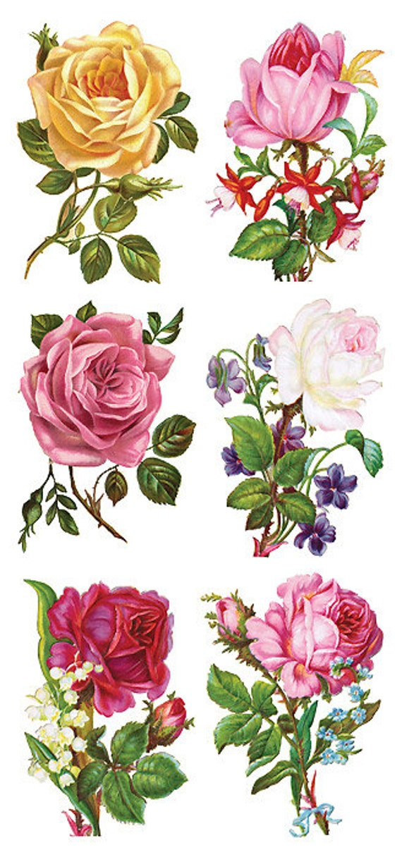 3 sheets self adhesive victorian roses colorful for Rose adesive