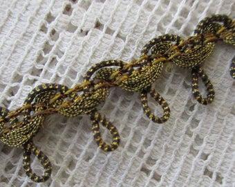 "Italy 3 Yards Vintage Fabric Trim Gold And Black Metallic Trim 1/2"" Wide Ribbon  RV 34"