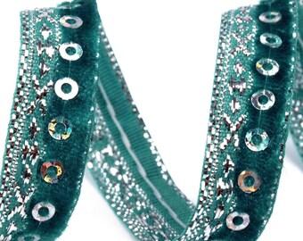 Czech Republic Mermaid Green and Silver Metallic Velvet Sequin Trim 10mm Wide 3 Yards  BD-19