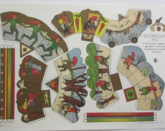 Vintage Denmark Gnomes People Christmas Baskets Paper Craft Sheet Lithograph For You To Cut