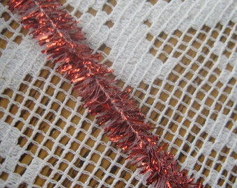 Czech Republic 10 Yards Tiny Tinsel Metallic Trim In Christmas Red 5mm Wide