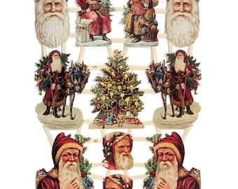 Germany Lithographed Victorian Santa Claus Paper Die Cut Scraps  7285