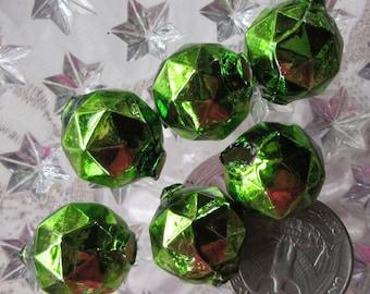 6 Glass Garland Beads Faceted Green Christmas Garland Beads Czech Republic 18mm 030GR