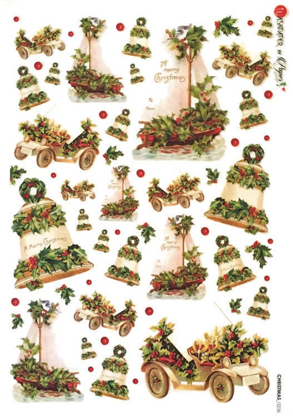 Rice Paper for Decoupage Scrapbooking Sheet Craft  Merry Christmas 2