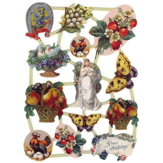 Holland Paper Lithographed Die Cut Scraps Flowers And