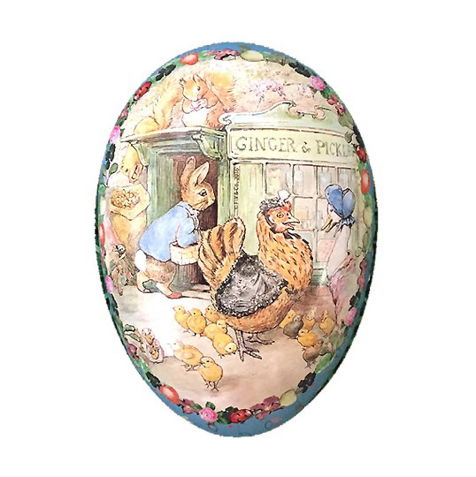 Peter Rabbit Germany Paper Mache Easter Egg Box Ginger & Pickles Beatrix Potter 4-1/2