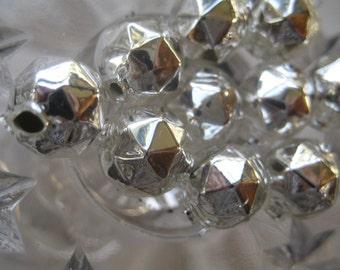 10 Faceted Silver Glass Garland Beads Christmas Garland Beads Czech Republic 10mm 084S