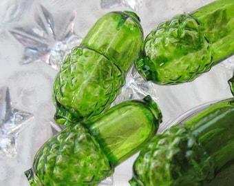Czech Glass Beads Christmas Garlands 6 Clear Green Acorns Czech Republic  018 CGR