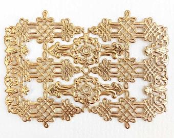 24 German Antique Gold Dresden Foil Celtic Flourishes and Corners  DF302AG x2