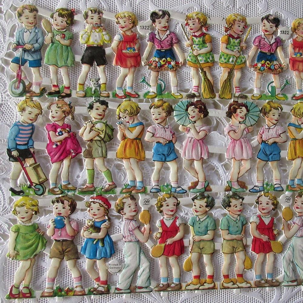 Chutes de papier Die Allemagne PZB Vintage Die papier sur toutes les faces coupées douces enfants PZB 1322 6176da